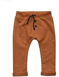 Karen Bebé Ropa para Bebés Unisexo Niños Niñas Pantalones de Chándal Patrones de Colores Marrón Mostaza