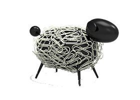 Sheepi - Das magnetische Büroklammerspender Schaf - schwarz mit weißen Büroklammern - Der tierische Büroklammerhalter für jeden Schreibtisch