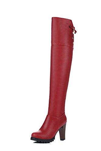 AgooLar Damen Reißverschluss Hoher Absatz Rein Hoch-Spitze Stiefel mit Metallisch, Schwarz, 38
