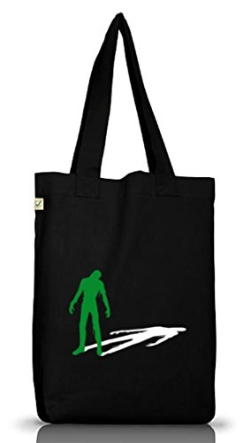 Shirtstreet24, ZOMBIE SHADOW, Halloween Zombies Jutebeutel Stoff Tasche Earth Positive, Größe: onesize,Black