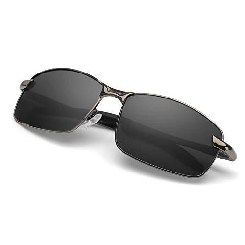 Enafad Sonnenbrille Herren Herrenbrille mit polarisiertem Metallrahmen, 100% UVA- und UVB-Schutz (Gun Frame/Grey Polarized Lens)