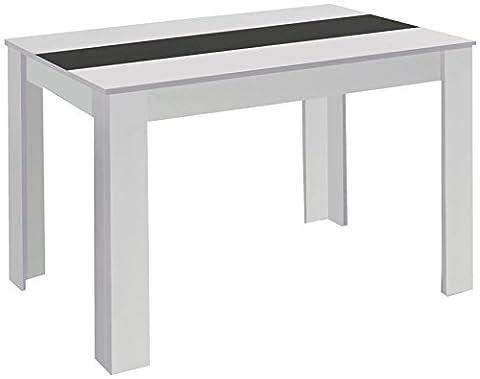Cavadore Tisch Nico / Moderner Esstisch mit Melaminplatte in Schwarz-Weiß / gefertigt aus weißem Melamin / 140 x 80 x 75 cm (L x B x H)