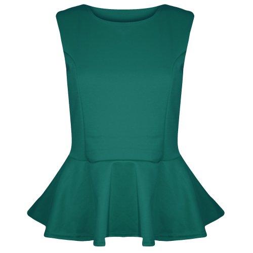 Pure Fashion Damen Ärmeloses Top Mehrfarbig Jade Green - Evening Dinner Date Fancy Skater