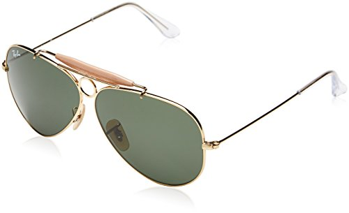 Ray-Ban - Shooter, Occhiali da sole da donna, 001 Gold/Green Classic, 62 mm