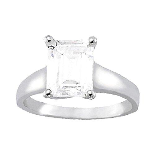 Solitaire smeraldo anello di fidanzamento con diamante taglio in oro bianco 14k 1,5 ct. Dimensione