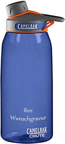 CAMELBAK Trinkflasche Chute, (Marine Blue, mit Namensgravur, 1000 ml) (Blue Camelbak Marine Chute)