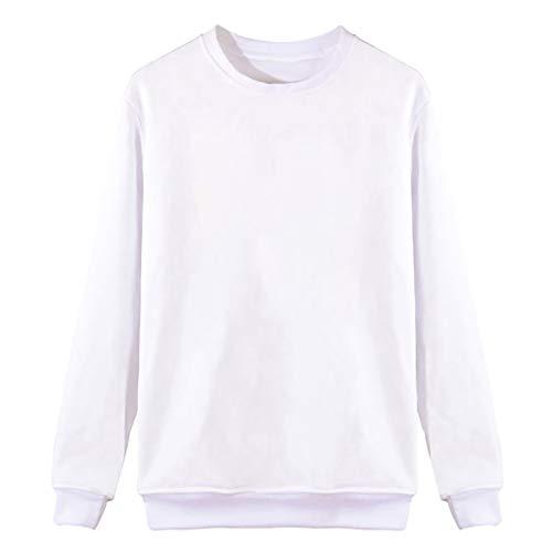Pullover Damen Tumblr Prime Langarm Rundhals Sweatshirts Mädchen Sport Freizeit Oberteile Einfacher Stil T-Shirt Herbst und Winter (XL, Weiß) - Waffel-stricken T-shirt