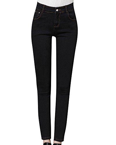 Donna Matita Jeans Skinny Stretch Elasticizzati Dritti Denim Caviglia Pantaloni Nero
