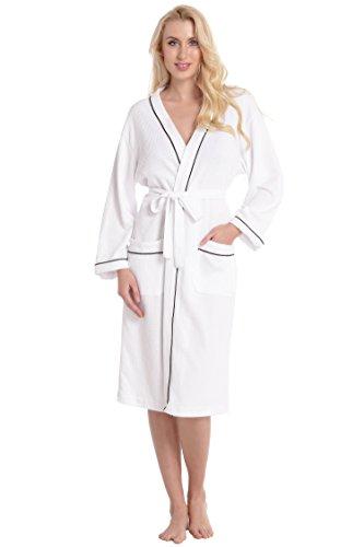 Aibrou Unisexe Kimono Tissage Gaufré Femme Peignoir de Bain femme homme 100% Coton Waffle Robe de Chambre col V Pyjama Pour l'hôtel Spa Sauna Vêtements de nuit( Blanc L)