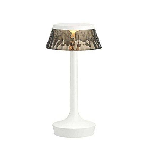 Flos Bon Jour Unplugged Lampe de table portable rechargeable avec structure blanche et abat-jour fumé 220 Volt