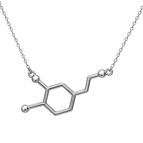 Dopamin Molekül Anhänger Halskette aus 925 Sterling Silber by Serebra Jewelry (Rhodium-Überzug) -