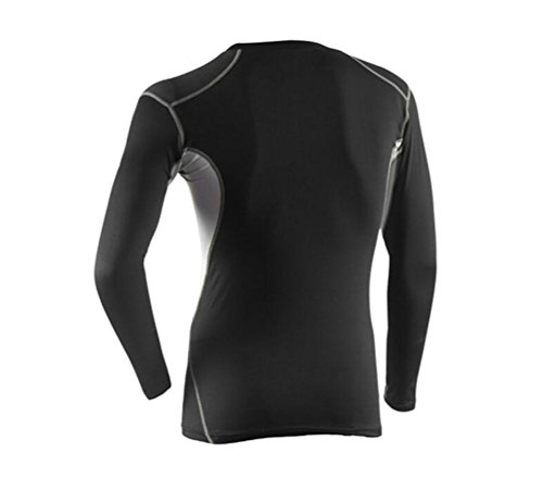 NiSeng Uomo Compression Maniche Lunghe T-Shirts,Compression Legging,Sportivo Maglietta Running Jogging Camicie Workout Gym Fitness Pantaloni da Allenamento 3# T-Shirt
