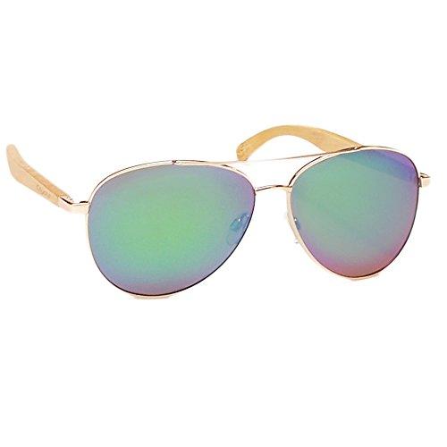Coyote Eyewear flywood Polarisierte Aviator Sonnenbrille mit natürlichem Holz Tempel, Gold/Bambus/grün Spiegel