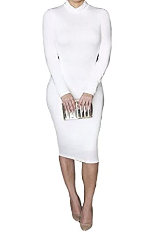 ALAIX Women Turtleneck Sexy and Warm Long Sleeve Autumn Stretch Bodycon Dresses White-S