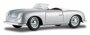 BBURAGO MAISTO Francia. Vehículo Porsche 356 Roadster 1948 Escala 1/18, M31853, Gris Metalizado