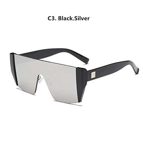 Quadratische Sonnenbrille Frauen Vintage Street Avantgarde Small Frame Sonnenbrille Männer Outdoor Persönlichkeit Sonnenbrille (Frame Color : NO CASE, Lenses Color : C3 Black.Silver)