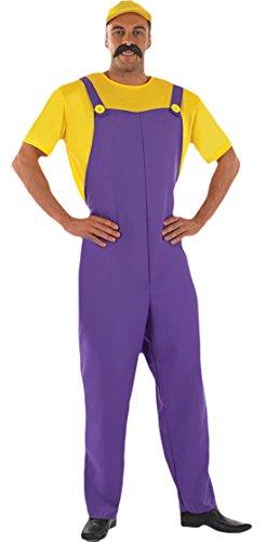 Karnevalsbud - Herren Karneval Kostüm Mario Plumbers Mate Red , Gelb, Größe (Familie Mario Kostüme)