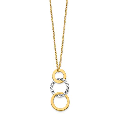 14k Two Tone Yellow Gold Textured 3 Circle Chain Necklace Pendant Charm Geometric Shape Fine Jewellery For Women Gifts…