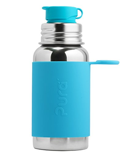 Flasche mit Silikon Sport Top, 18 Unze/550,Millimeter, Plastik Freies, Nicht Toxisch Zertifiziert, AQUA BLAU ()