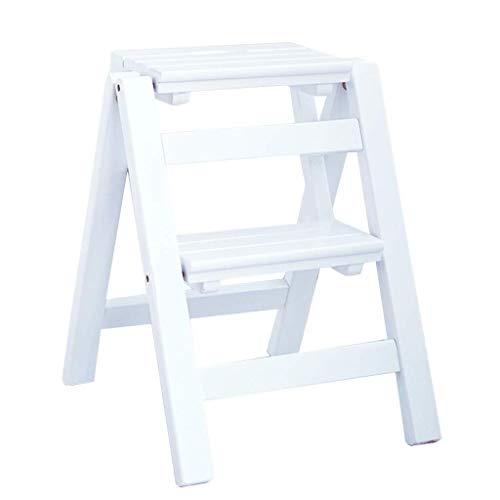 LSLMCS 2-Stufen-Tread Hocker, Multifunktions-Hoch Pedal Hocker Eindickung Holzleiter Stuhl Lagerregal Innen Folding Kindertrittschemel Weiße Schuhe Bench Größe: 38x46x50cm)