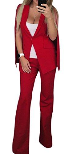 Damen Elegant Blazer Reverskragen Cape Ärmel Jacke Schlaghose Anzug Zweiteilig Hosenanzug Set Clubwear Cocktail Party Coat Suit Ein Knopf Cardigan Umhang Weiß Rot Blau