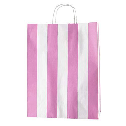 Thepaperbagstore 20 Bolsas De Papel De Colores, Reciclables Y Reutilizables, con Asas Retorcidas, Rayas Blancas y Rosas - Grandes 320x120x410mm