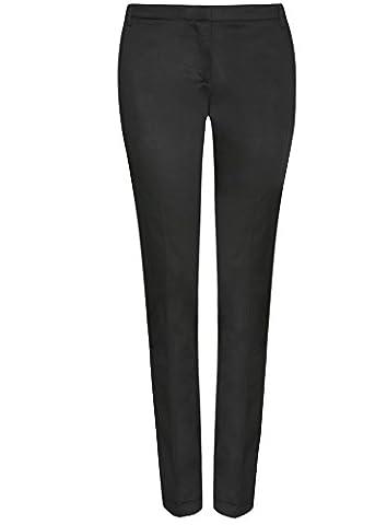 oodji Ultra Damen Sommerhose Basic, Schwarz, DE 34 / EU 36 / XS (Schwarz Glatt Mokassin)
