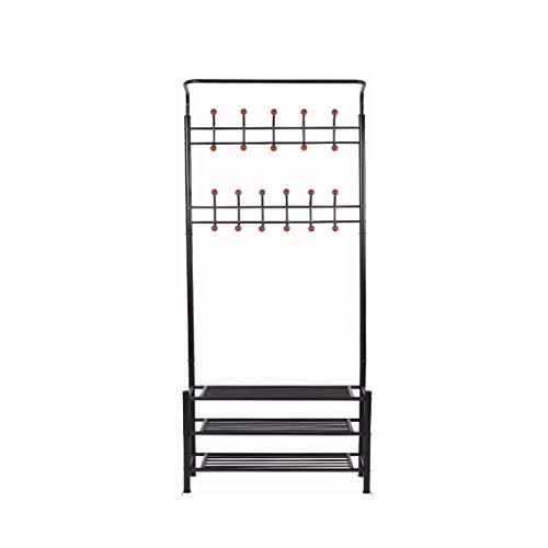 ZYL Schuhschrank Leqi Multi-Funktions-Floor Sleek Minimalist Hanger Schuhregal Verstärkte DREI-Schicht-Schwarz schuhschrank