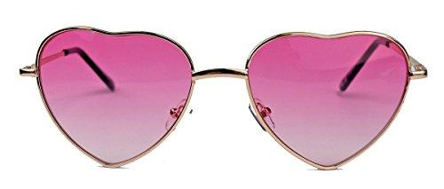 Festival Eyecatcher Retro Sonnenbrille herzförmige Fliegerbrille Herzform Metall Rahmen Herzbrille HAV (Pink)
