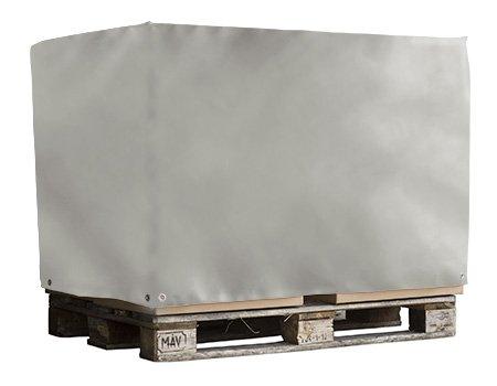 Abdeckhaube für Euro Paletten | Palettenhaube aus sehr robuster LKW - Plane (650g/qm) | Ohne Reißverschluss | Ideal für Langjährigen Einsatz geeignet | Versandkostenfrei | Maße in cm: 125x85x45