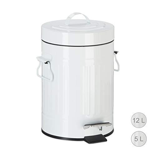 Relaxdays Treteimer Vintage, Abfalleimer für Küche oder Bad, aus Metall, mit Tretfunktion, Kosmetikeimer, 3 Liter Weiß - Mülleimer Weiß Mit Deckel