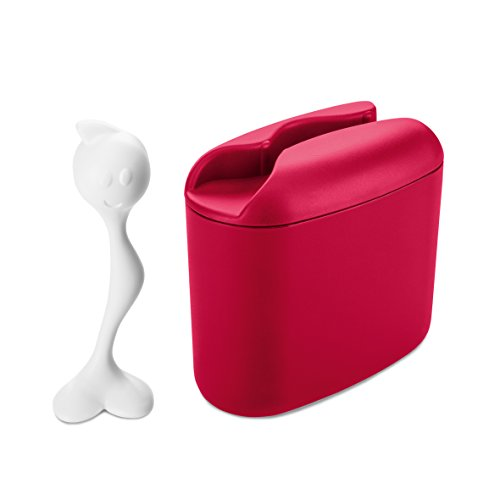 koziol Vorratsdose Hot Stuff M, himbeer rot mit weiß, 17.1 x 8.5 x 16.5 cm