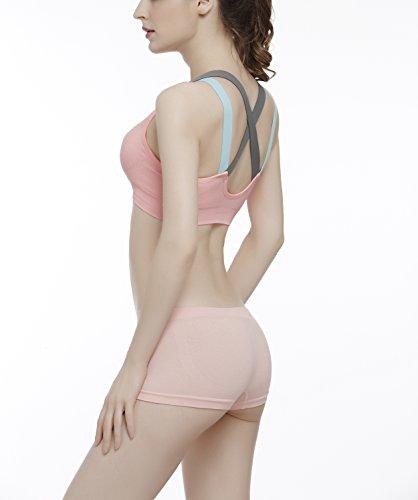COCO TOE® Damen Sport-BH Mit Leichtem Halt Gepolstert Bügellos Cross Back Cool Pink