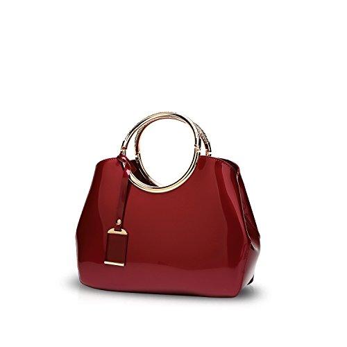 3d28d89381e39 NICOLEDORIS Damen Handtaschen Umhängetasche Schultertaschen Henkeltaschen  Tasche Wasserdicht PU Rot Rotwein
