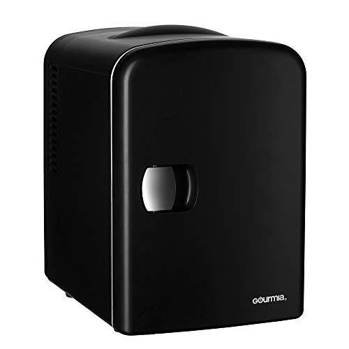 Gourmia Thermoelectric Mini Fridge Cooler and Warmer for Home, Car, Dorm or Boat, 4 L/6 Can (Black)