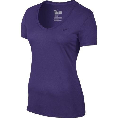 Nike W Nk Dry Vneck Legend Ss Tee - T-Shirt pour femme col V COURT PURPLE
