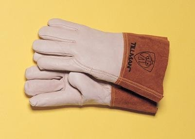 Top Grain Pearl Gray Leather Premium Grade TIG Welders Glove With Para-aramid synthetic fiber Stitching, Wing Thumb, 4 Cuff And Seamless Forefinger by John Tillman and Co (Top-grain-pearl)