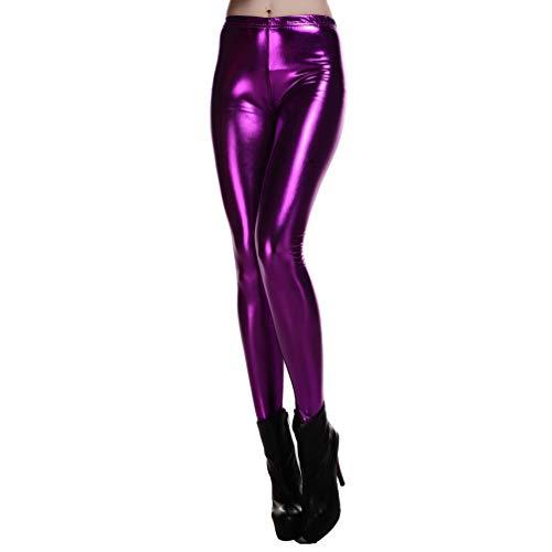 WanYangg Leggings Mujer Wetlook Leggins con Brillos Brillantes PU Polipiel  Skinny Elásticos Cintura Alta Colorear Lápiz 739238f69a99