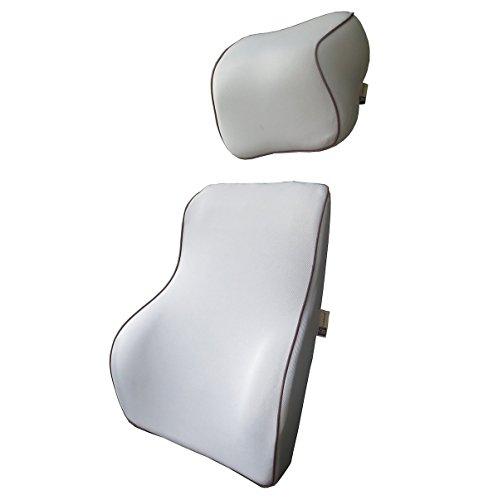 Preisvergleich Produktbild LoveHome Auto Lendenwirbelstütze Rückenpolster und Kissen Hals Kit - Premium Memory Schaum mit Netzabdeckung - Universal Fit Major Autositz -Ideal Auto Rücken Support für Road Trip Driving -(Grau)
