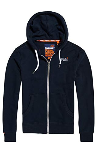 Superdry Men's Label Ziphood Jumper, Blue (Eclipse Navy 98t), X-large