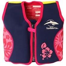 Niños de salvavidas de neopreno, marina/rosa Hibiscus, Konfidence Jacket. Tamaño 6