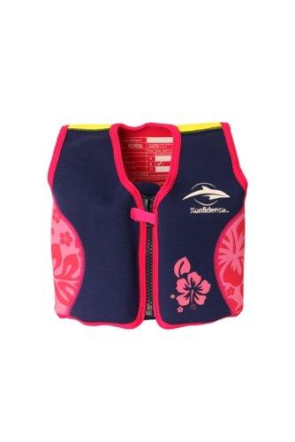 Kinder-Schwimmweste aus Neopren, Navy/Pink Hibiscus, Konfidence Jacket Größe 4-5 Jahre: 16-21 kg, Brustumfang ca. 61 cm