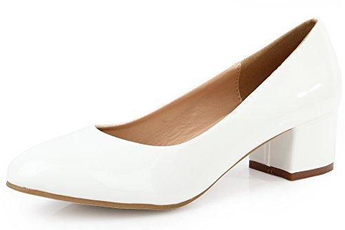 AgeeMi Shoes Damen Slip On Spitz Zehe Niedriger Absatz Klassische Pumps,EuD27 Weiß 39