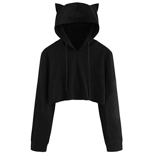 WOCACHI Hoodies, Damen Nette Katze Ohr Langarm Schwarz Kurz Sweatshirt Tops (S/32, Schwarz)