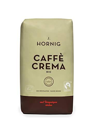 J. Hornig Kaffeebohnen Bio & Fair Trade, Caffè Crema Bio, 500g, kräftig nussiges Aroma, perfekt für Espresso, Cappuccino und Mokka, ganze Bohnen