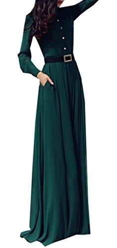 Damen Herbst Winter Reizvolle Volltonfarbe Maxikleider Strandkleid Elegante Langarm Hochgeschlossen Lange Kleid Tunikakleid (EU36(S), Grün)