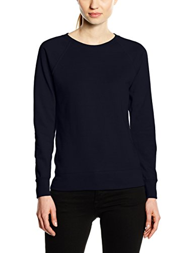 Fruit of the Loom Damen Sweatshirt Raglan Lightweight, Blau (Deep Navy), 40 (Hersteller Größe:Large)