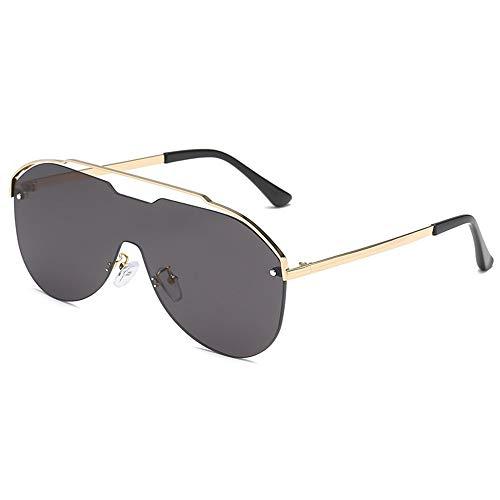 XIELH Sonnenbrille One Piece Übergroße Sonnenbrille Frauen Hohl Vintage Randlose Gradient Sonnenbrille Männer Shades Ocean Lens UV400, Grau