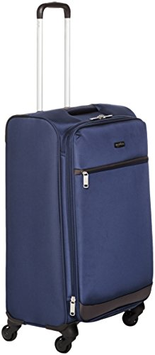 Amazonbasics - trolley morbido con rotelle girevoli, 64 cm, blu navy