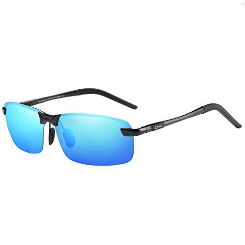 LZXC Herren Polarisierte Sonnenbrille UV400 Schutz Brille zum Autofahren, Schwarzer Rahmen Verspiegelte Blaue Linse